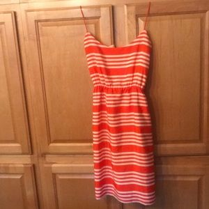 Woman's 4 J Crew red orange and cream dress EUC